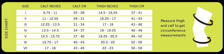 Size Chart for CEP RXOrtho Knee Brace