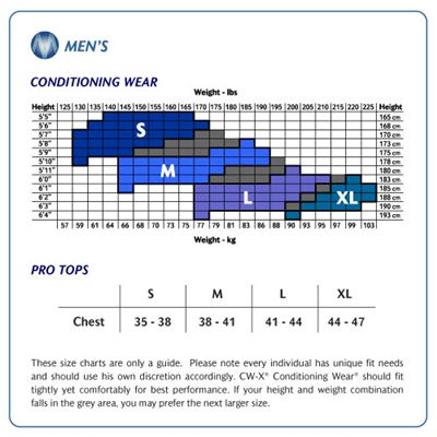 CW-X Conditioning Web Men's Size Chart